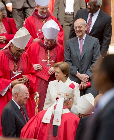 Supreme Court Justices Anthony M. Kennedy (bottom left), Elena Kagan (center), Stephen G. Breyer (center right) and Clarence Thomas (top right) make their way out of the Cathedral of St. Matthew the Apostle in Washington on Sunday, Sept. 30, 2012, after the annual Red Mass. (Andrew Harnik/The Washington Times)