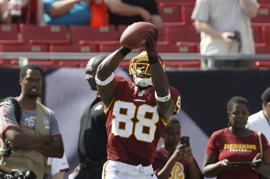 Pierre Garcon had one catch for 20 yards in the Redskins' victory over the Tampa Bay Buccaneers on Sept. 30. (Associated Press)