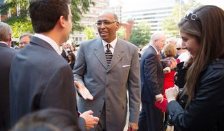 Former Republican National Committee Chairman Michael S. Steele chats following the annual Red Mass for the U.S. Supreme Court at the Cathedral of St. Matthew the Apostle in Washington on Sunday, Sept. 30, 2012. (Andrew Harnik/The Washington Times)