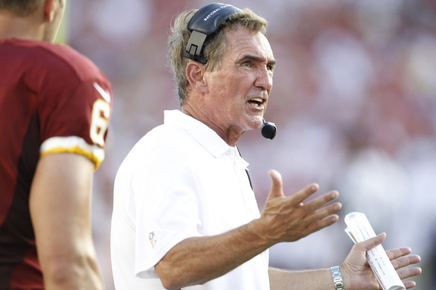 Washington Redskins head coach Mike Shanahan during a game against the Tampa Bay Buccaneers.   (AP Photo/Margaret Bowles)