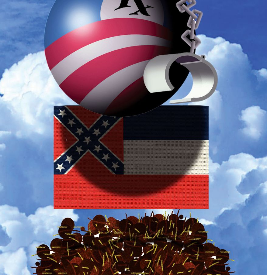 Illustration Obamacare in Mississippi by Alexander Hunter for The Washington Times