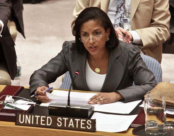 Susan Rice, U.S. ambassador to the United Nations, speaks at the world body's headquarters on Thursday, Aug. 30, 2012. (AP Photo/Bebeto Matthews)