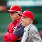 Washington Nationals manager Davey Johnson (5), left, and Owner Mark Lerner. (Andrew Harnik/The Washington Times)