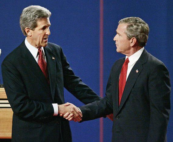 Democratic presidential candidate Sen. John F. Kerry shakes hands with President Bush after the third and final presidential debate in Tempe, Ariz., on Oct. 13, 2004. (Associated Press)