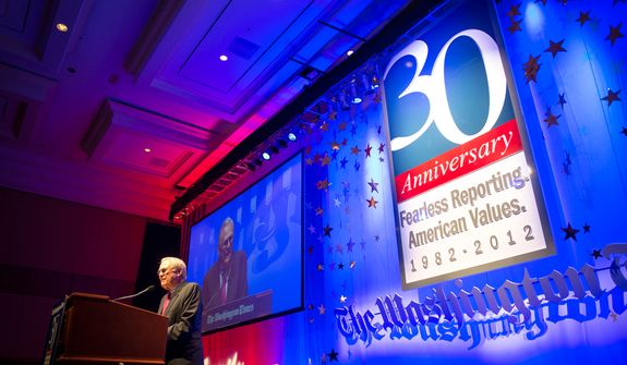 Former Secretary of Defense Donald Rumsfeld delivers his speech to the crowd during the evening banquet as part of the 30th anniversary celebration of The Washington Times at the Marriott Wardman Park Hotel in Washington, D.C., Tuesday, Oct. 2, 2012. (Rod Lamkey Jr./The Washington Times)