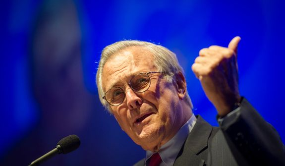 "**FILE** Former Secretary of Defense Donald Rumsfeld delivers his speech to the crowd during a ""Symposium on Values and Consequences"" as part of the 30th anniversary celebration of The Washington Times at the Marriott Wardman Park Hotel in Washington on Oct. 2, 2012. (The Washington Times)"