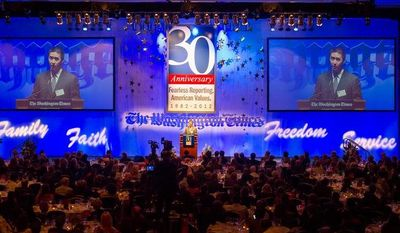 The Rev. Hyung Jin Moon, son of the Rev. Sun Myung Moon, delivers his speech to the crowd during the evening banquet as part of the 30th anniversary celebration of The Washington Times at the Marriott Wardman park Hotel in Washington, D.C., Tuesday, October 2, 2012. (Rod Lamkey Jr./The Washington Times)