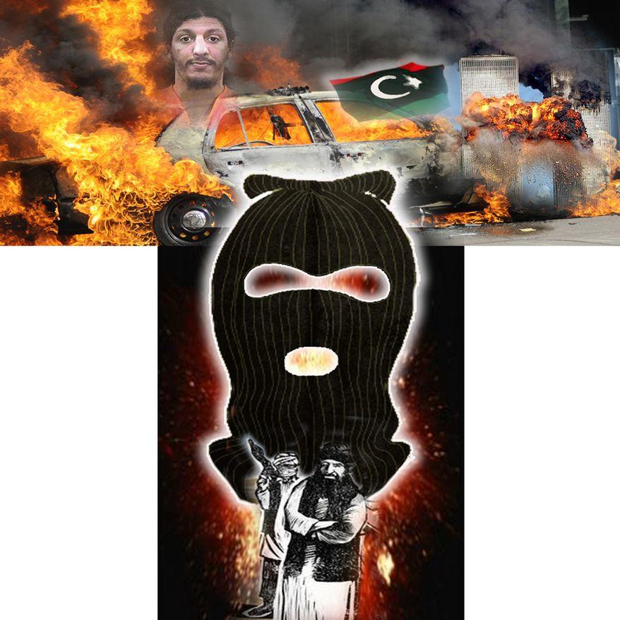 Illustration Terrorists by John Camejo for The Washington Times