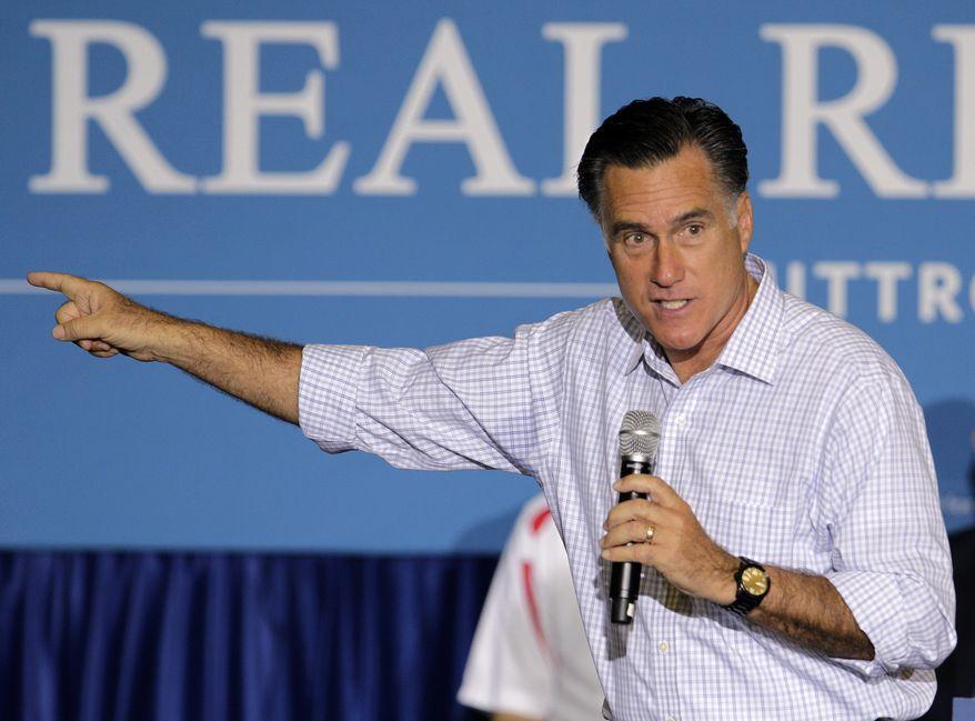 FILE - In this Sept. 26, 2012 file photo, Republican presidential candidate, former Massachusetts Gov. Mitt Romney speaks in Westerville, Ohio.