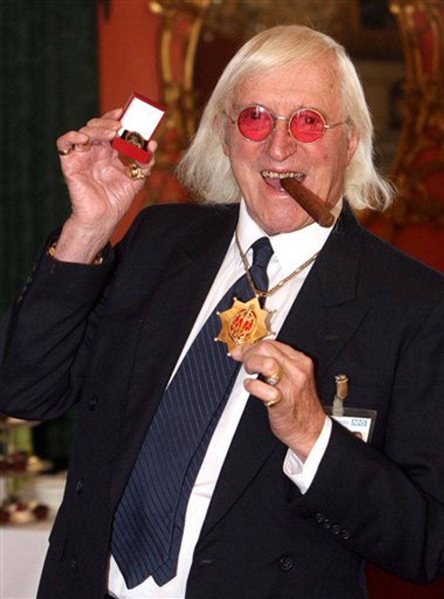 Sir Jimmy Savile is pictured in 2008. (AP Photo/Lewis Whyld/PA)