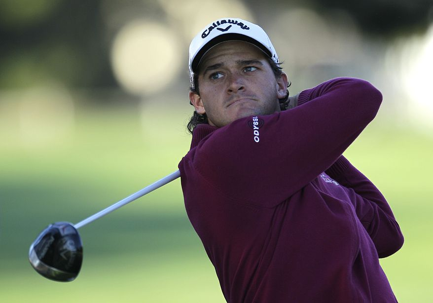 Sam Saunders hits off the second tee of the Pebble Beach Golf Links during the second round of the AT&T Pebble Beach National Pro-Am golf tournament Friday, Feb. 10, 2012, in Pebble Beach, Calif. (AP Photo/Ben Margot)