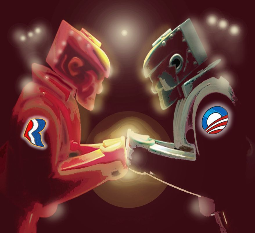 Illustration Obama and Romney in the Ring by John Camejo for The Washington Times