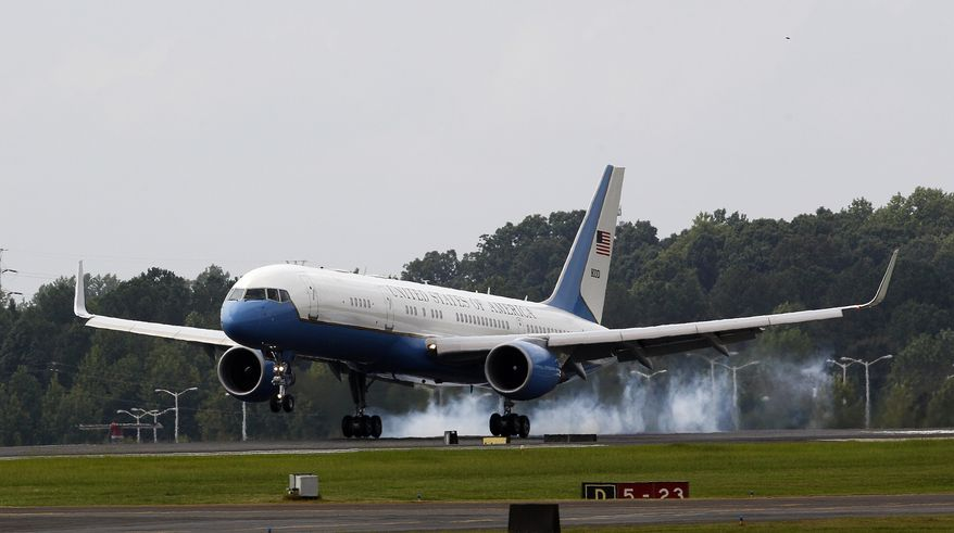 ** FILE ** Air Force Two touches down as Vice President Joseph R. Biden and his wife, Jill, arrive in Charlotte, N.C., on Tuesday, Sept. 4, 2012, for the Democratic National Convention. (AP Photo/Gerry Broome)