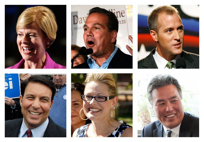 Gay or bisexual candidates for Congress in the November election include (top row from left) Rep. Tammy Baldwin, Wisconsin Democrat; Rep. David Cicilline, Rhode Island Democrat; Sean Patrick Maloney, New York Democrat; (bottom row from left) former state legislator Richard Tisei, Massachusetts Republican; former state Sen. Kyrsten Sinema, Arizona Democrat; and Mark Takano, California Democrat. (AP Photo)
