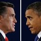 ** FILE ** Republican presidential nominee Mitt Romney and President Obama speak during the first presidential debate, at the University of Denver on Wednesday, Oct. 3, 2012, in Denver. (AP Photo/David Goldman/Eric Gay)