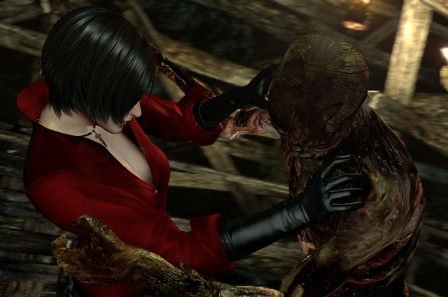 Ada Wong meets a new friend in the video game Resident Evil 6.