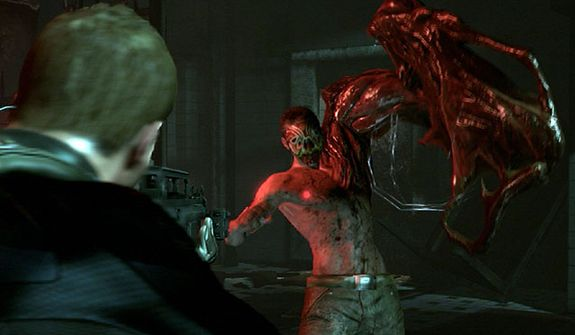 A J'avo looks for another victim in the video game Resident Evil 6.