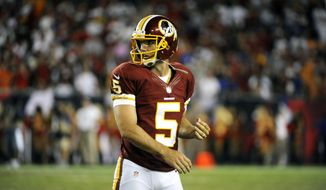 Washington Redskins kicker Billy Cundiff (5) walks off the field during an NFL football game against the Tampa Bay Buccaneers Sunday, Sept. 30, 2012, in Tampa, Fla. (AP Photo/Brian Blanco)