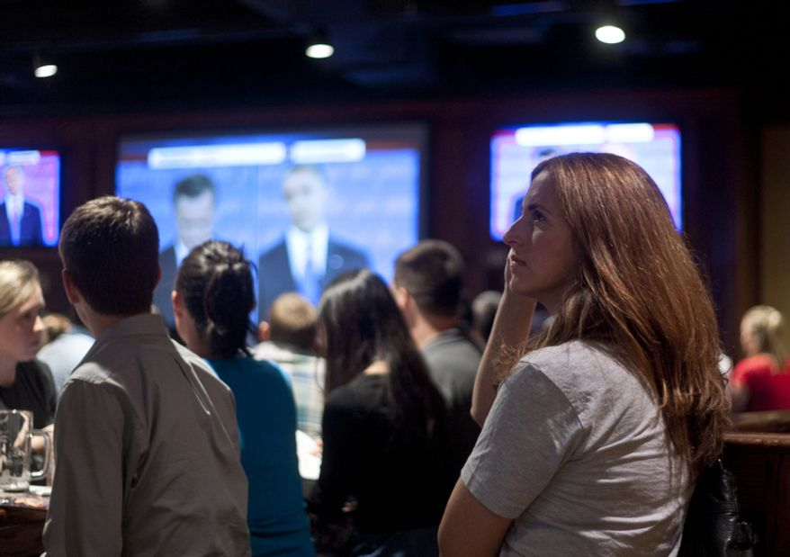 Melissa Throp of Arlington, Va., watches the first presidential debate between President Obama and Republican nominee Mitt Romney during a watch party put on by the Arlington Young Democrats and the Arlington County Democratic Committee at Bailey's Pub in Ballston Common Mall, Ballston, Va., Wednesday, Oct. 3, 2012. (Craig Bisacre/The Washington Times)