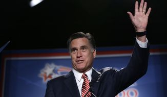 Republican presidential candidate Mitt Romney speaks at a Colorado Conservative Political Action Committee (CPAC) meeting in Denver on Thursday, Oct. 4, 2012. (AP Photo/Charles Dharapak)