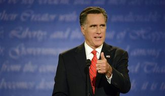 Republican presidential nominee Mitt Romney speaks during the first presidential debate with President Barack Obama at the University of Denver, Wednesday, Oct. 3, 2012, in Denver. (AP Photo/The Denver Post, John Leyba)