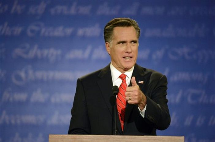 Republican presidential nominee Mitt Romney speaks during the first presidential debate with President Barack Obama at the University of Denver, Wednesday, Oct. 3, 2012, in Denver. (AP Photo/The Denver Post, John Leyba)