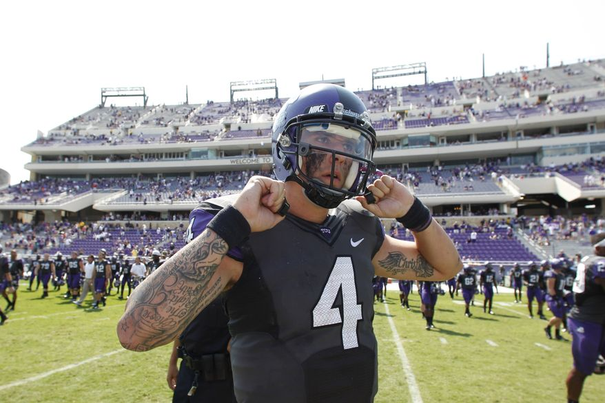 TCU quarterback Casey Pachall (4) walks on the field after an NCAA college football game against Virginia, Saturday, Sept. 22, 2012, in Fort Worth, Texas. TCU won 27-7, (AP Photo/LM Otero)