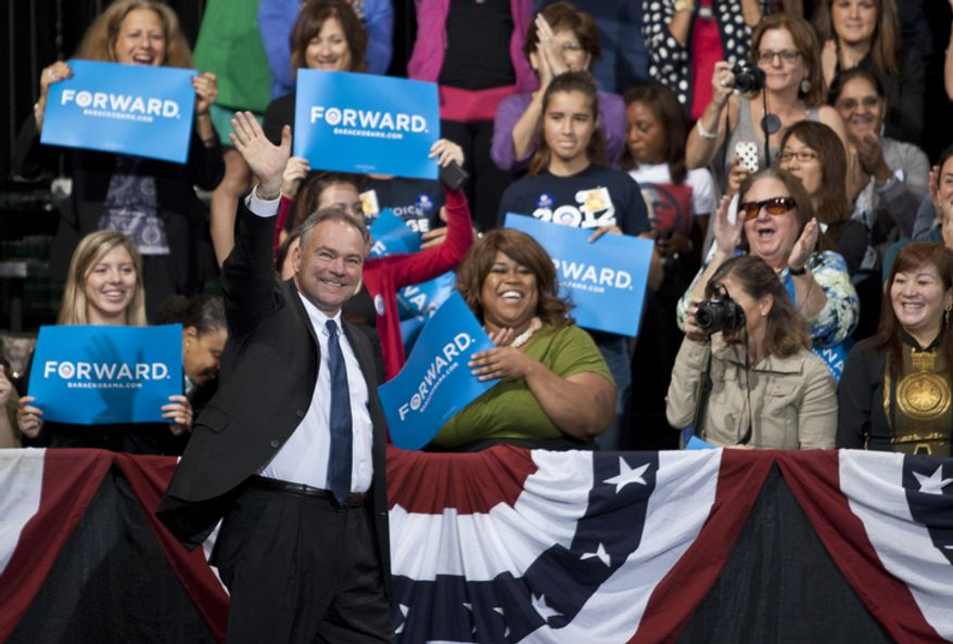 U.S. Senate candidate and former Gov. Tim Kaine gives the opening speech at President Obama's campaign event Friday, Oct. 5, 2012, at George Mason University in Fairfax, Va. (Craig Bisacre/The Washington Times)