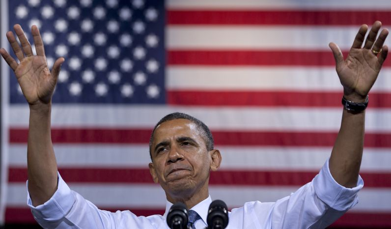 President Obama speaks on Friday, Oct. 5, 2012, at a campaign event at George Mason University in Fairfax, Va. (Associated Press)