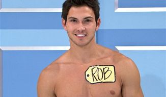 "This undated image from video shows Rob Wilson, of Boston, who was chosen in an online competition to be the first male model on the popular daytime game show, ""The Price is Right."" Wilson begins his weeklong stint alongside the ladies on Oct. 15. (AP Photo/CBS)"