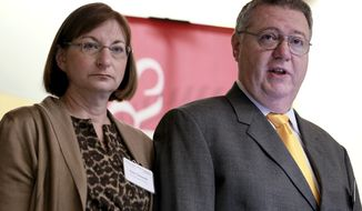 **FILE** Joseph Clementi and his wife, Jane, the parents of a Rutgers University student who killed himself in 2010 after his roommate used a webcam to see him kissing another man, open a symposium on use and misuse of social media at Rutgers University on Nov. 14, 2011.