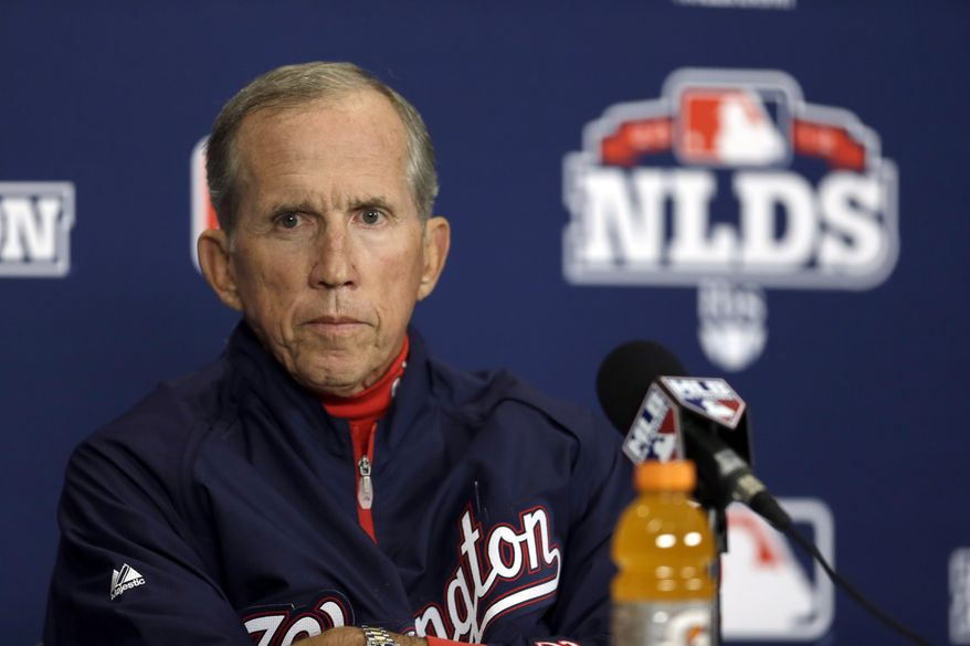 Nationals manager Davey Johnson meets with the media on Saturday, the day before Game 1 of the NLDS. (Associated Press)