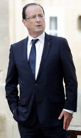 President Francois Hollande sought Sunday to allay tensions between Jews and Muslims aggravated by violent incidents. (Associated Press)