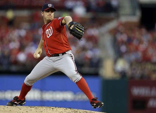 Washington Nationals starting pitcher Jordan Zimmermann throws during the first inning of a baseball game against the St. Louis Cardinals on Saturday, Sept. 29, 2012, in St. Louis. (AP Photo/Jeff Roberson)