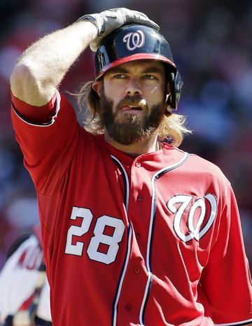 Washington Nationals' Jayson Werth reacts after striking out during the first inning of Game 1 of the National League division baseball series against the St. Louis Cardinals, Sunday, Oct. 7, 2012, in St. Louis. (AP Photo/Charlie Riedel)
