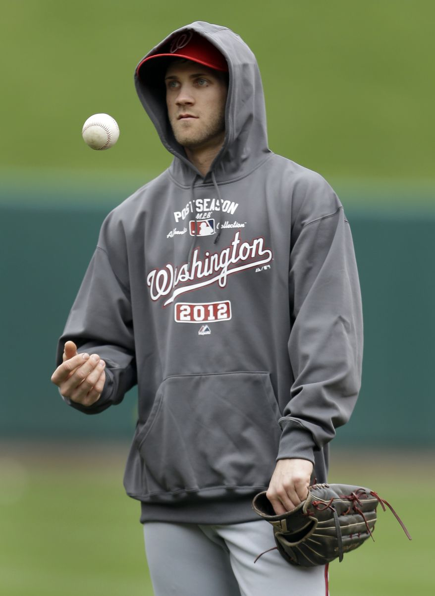 Bryce Harper kept the hood on his sweatshirt up on Saturday as the Nationals worked out in chilly temperatures in St. Louis (Associated Press)