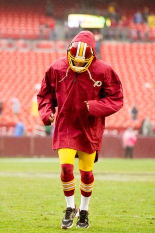 Washington Redskins kicker Billy Cundiff (5) leaves the field as the Washington Redskins lose to the Atlanta Falcons 24-17 at FedEx Field, Landover, Md., Sunday, October 7, 2012. (Andrew Harnik/The Washington Times)