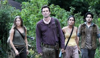 "Tracy Spiridakos, Billy Burke, Daniella Alonso and Paras Patel star in ""Revolution."" ""When the power goes out, the structure of society would shift enormously,"" said J.J. Abrams, writer-director-producer, about the show's premise. ""The people who are in control are more likely to fall by the wayside and not know how to handle anything."" (NBC via Associated Press)"