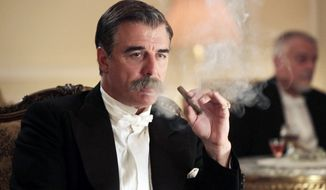 "Chris Noth portrays J.P. Morgan in a scene from ""Titanic: Blood and Steel,"" a 12-hour miniseries on the Encore cable channel. The series will premiere on six consecutive nights, with two episodes airing back to back, beginning Monday at 8 p.m. (Associated Press)"