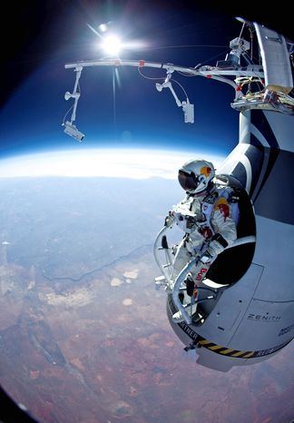 Felix Baumgartner made two shorter jumps in preparation for a 23-mile free fall from a balloon-hoisted capsule over New Mexico planned for Tuesday morning. (Associated Press)
