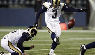 Free agent kicker Josh Brown, formerly of the St. Louis Rams, will try out for the Redskins on Tuesday. (AP Photo/Elaine Thompson)
