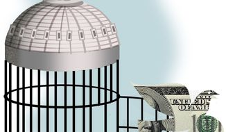 Illustration Small Government by Alexander Hunter for The Washington Times