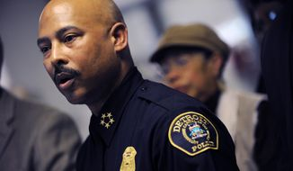 ** FILE ** Detroit police Chief Ralph Godbee speaks during a news conference at the Northeastern District police station in Detroit on Thursday, Jan. 5, 2012. (AP Photo/Detroit News, Brandy Baker)