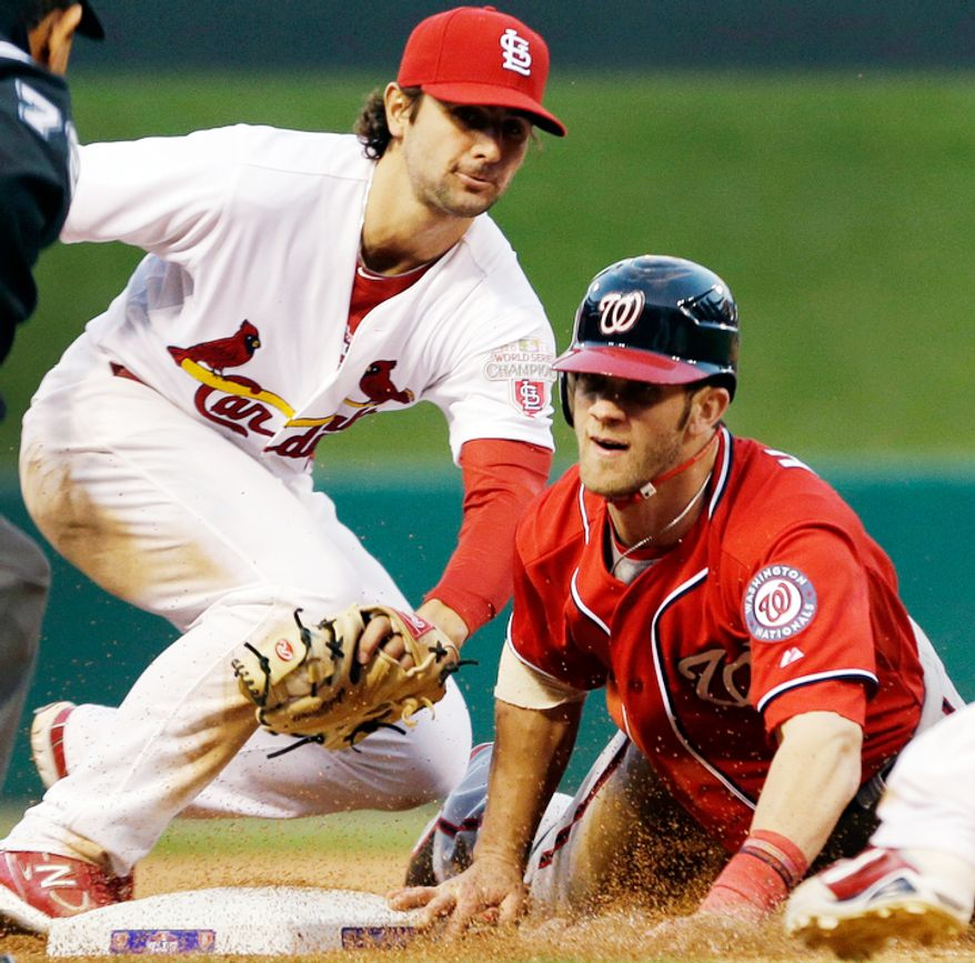 Washington Nationals' Bryce Harper, right, is tagged out at third by St. Louis Cardinals shortstop Pete Kozma during the seventh inning. (AP Photo/Jeff Roberson)
