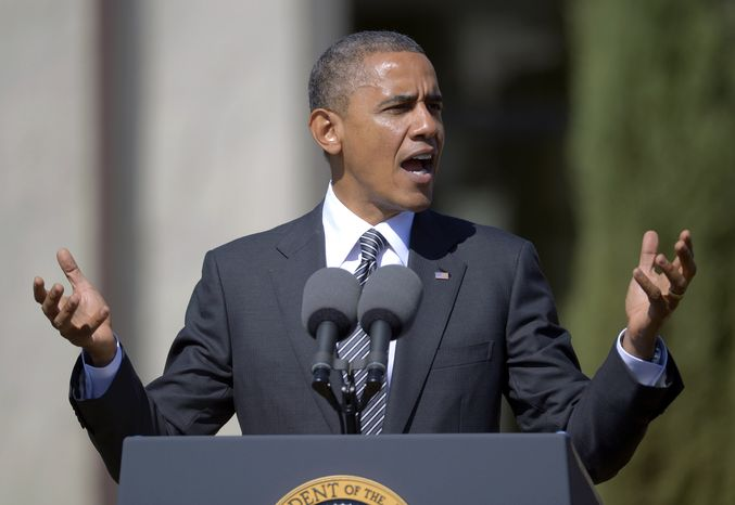 President Obama announces the establishment of the Cesar E. Chavez National Monument on Monday, Oct. 8, 2012, in Keene, Calif. The property is recognized worldwide for its historic link to civil rights leader Cesar Chavez and the farm worker movement. (AP Photo/Mark J. Terrill)