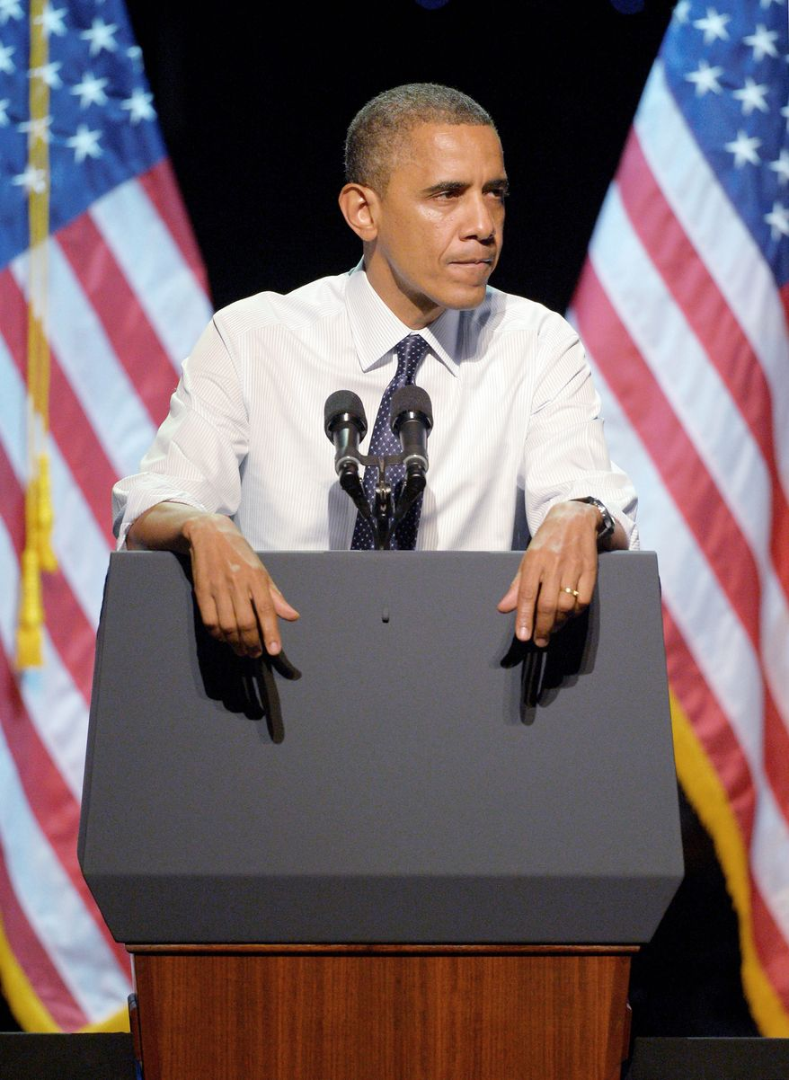 """**FILE** President Obama speaks Oct. 7, 2012, at the """"30 Days to Victory"""" fundraising concert in Los Angeles. (Associated Press)"""
