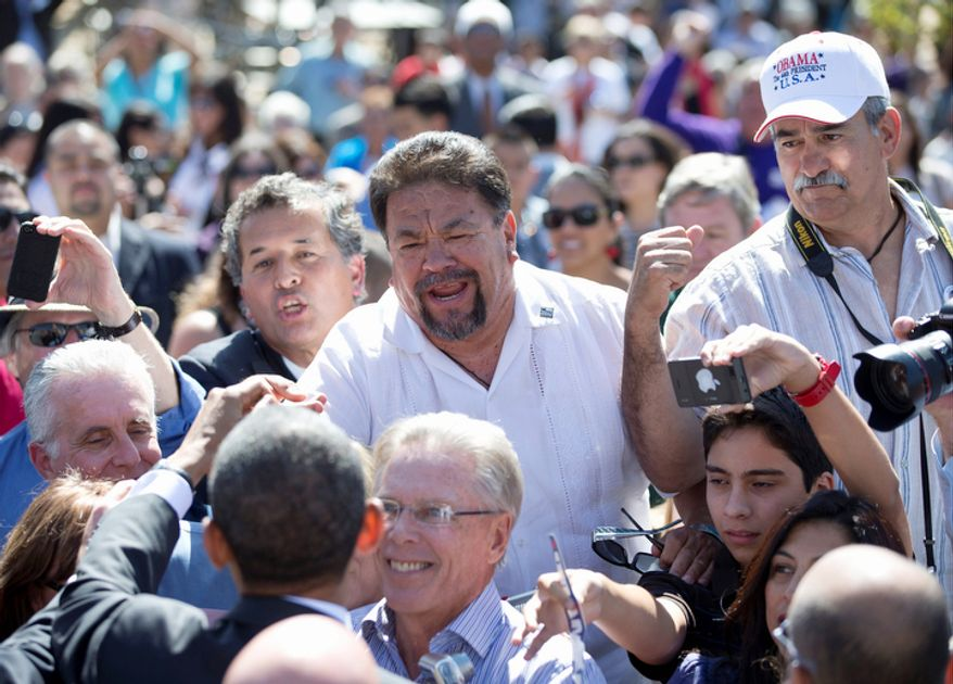 President Obama greets supporters Oct. 8, 2012, at the Cesar E. Chavez National Monument in Keene, Calif. (Associated Press)