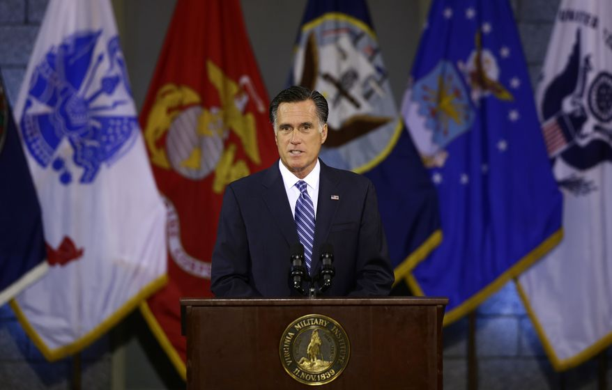 Republican presidential candidate Mitt Romney delivers a foreign policy speech at the Virginia Military Institute in Lexington, Va., on Monday, Oct. 8, 2012. (AP Photo/Charles Dharapak)