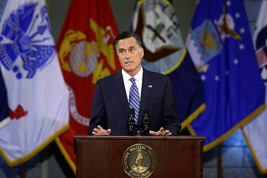 Republican presidential candidate Mitt Romney delivers a foreign policy speech at Virginia Military Institute in Lexington, Va., on Monday, Oct. 8, 2012. (AP Photo/Charles Dharapak)