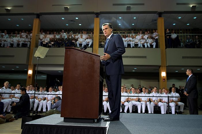Republican presidential candidate Mitt Romney gives a foreign policy speech at the Virginia Military Institute in Lexington, Va., on Monday, Oct. 8, 2012. (AP Photo/Evan Vucci)